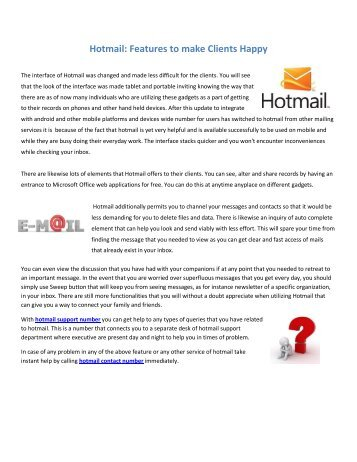 Hotmail Features to make Clients Happy