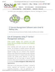 IT Service Management Software using companies' list includes only vital details to target the niche market