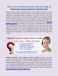 Hotmail Support Contact Number UK