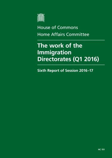 The work of the Immigration Directorates (Q1 2016)