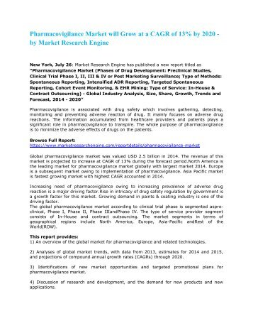 Pharmacovigilance_Market_will_Grow_at_a_CAGR_of_13%_by_2020_-_by_Market_Research_Engine