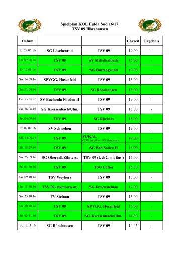 Spielplan KOL Fulda Süd 16-17 TSV 09