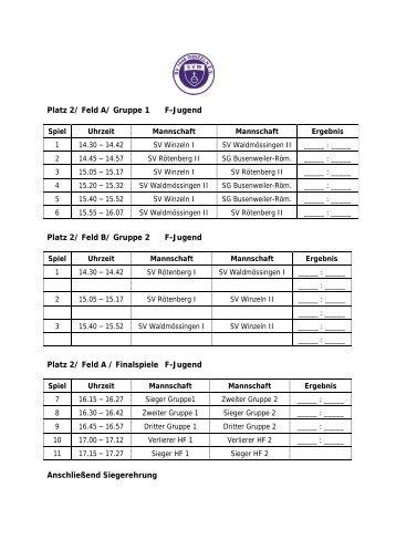 Spielplan F-Jugend