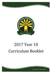 2017 Year 10 Curriculum Booklet