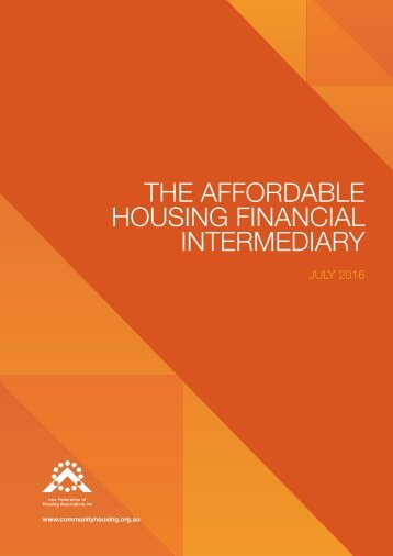 THE AFFORDABLE HOUSING FINANCIAL INTERMEDIARY