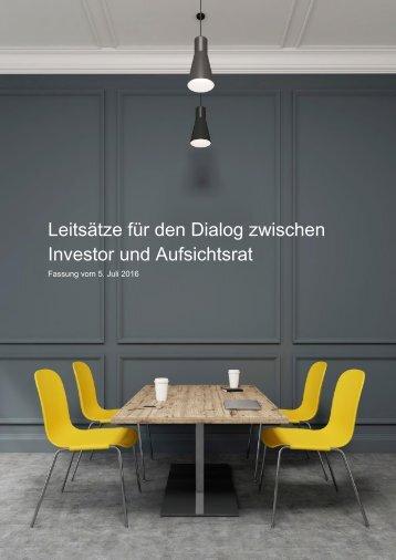 Leitsätze für den Dialog zwischen Investor und Aufsichtsrat