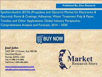 Global Epichlorohydrin Market Size, Shares, analysis & trends up to 2020