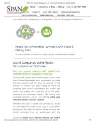 Purchase List of Mobile Virus Protection Software Customer Lists from Span Global Services