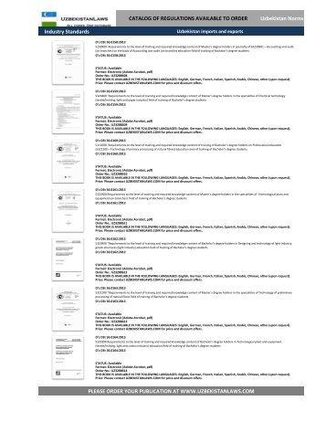 UZBEKISTAN fruit export, Regulations Catalog, TRANSLATED (English, Deutsch, Francais, Chinese)5
