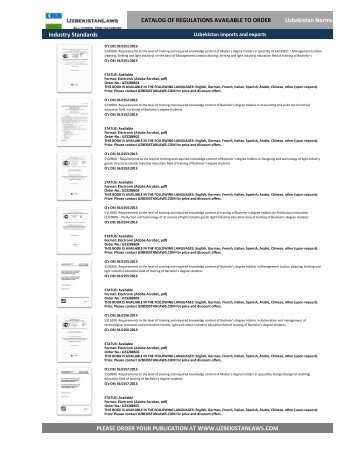 UZBEKISTAN fruit export, Regulations Catalog, TRANSLATED (English, Deutsch, Francais, Chinese)4