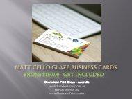 Matt Cello-glaze Business Cards - Chameleon Print Group