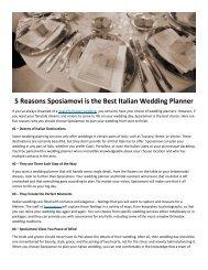 5 Reasons Sposiamovi is the Best Italian Wedding Planner