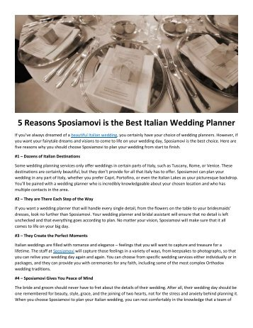 5 Reasons Sposiamovi is the Best Italian Wedding Planner