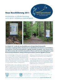 Neue Beschilderung 2011 - im Biotopverbund