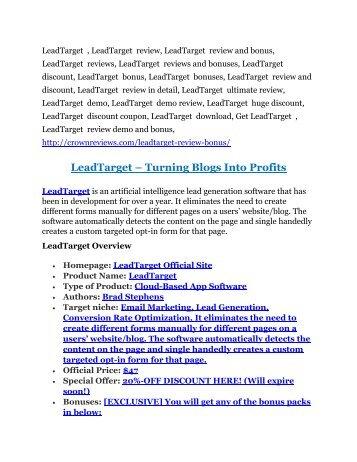 1LeadTarget review pro-$15900 bonuses (free)