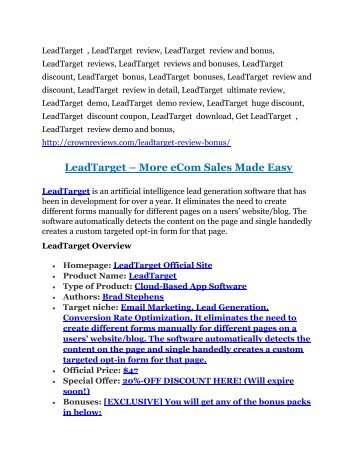 2LeadTarget Review and (MASSIVE) $23,800 BONUSES