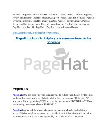PageHat Review – (Truth) of PageHat and Bonus