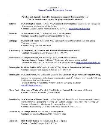 Updated 6.7.12 Nassau County Bereavement Groups . Parishes and ...