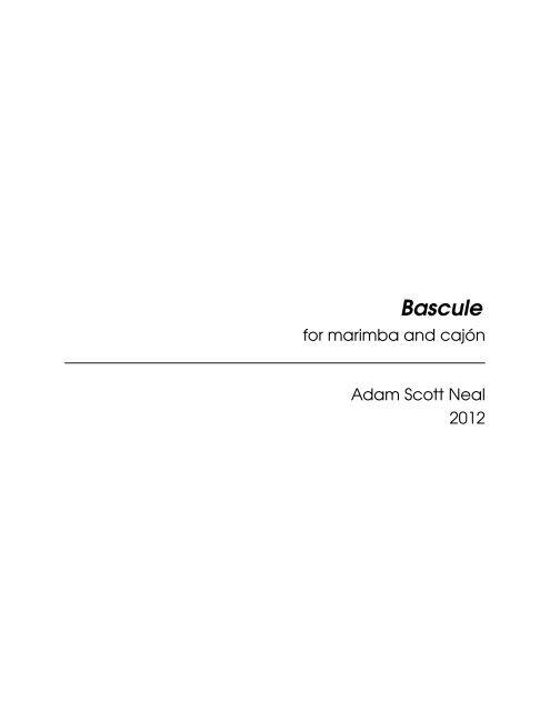 Bascule -- marimba & cajón (music score)