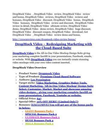 3DropMock Video review and DropMock Video $11800 Bonus & Discount