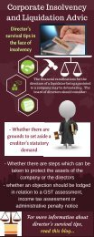 Infographic about Director's survival tips in the face of insolvency