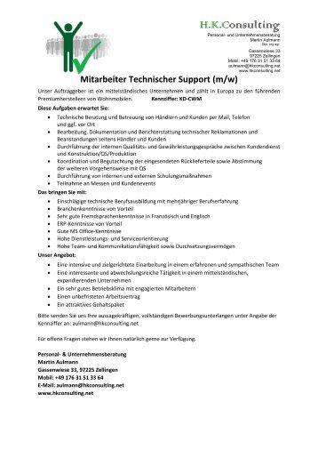 Mitarbeiter Technischer Support