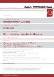 Einladung Schiffsfonds Immobilienfonds In- & Ausland Markt der ...