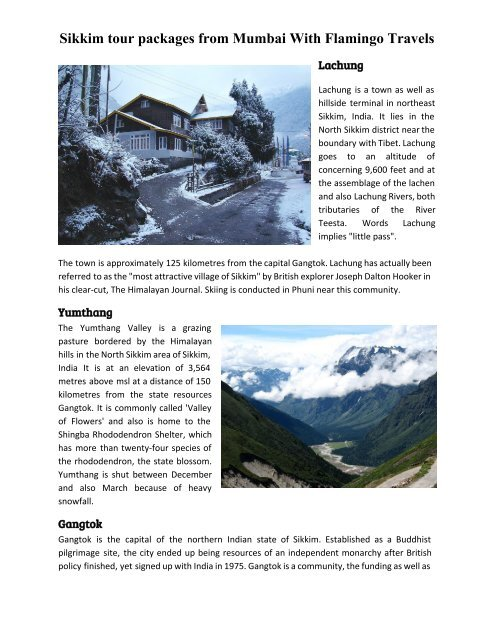 Sikkim tour packages from Mumbai with Flamingo Tarvels