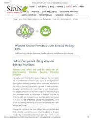 Purchase List of Wireless Service Providers from Span Global Services