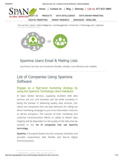 Get List of Companies in USA using Spamina Software from Span Global