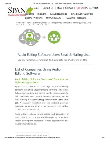 List of Audio Editing Software customers' has a million plus high yielding contacts