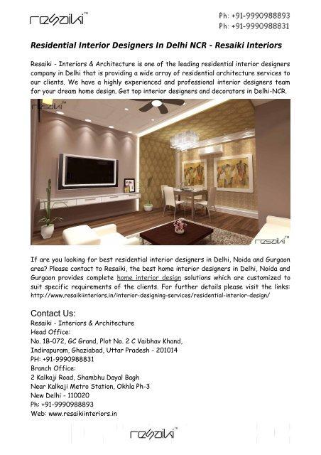 Residential Interior Designers Delhi Ncr