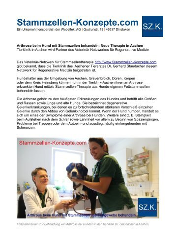 Stammzellenbehandlung: Zelltherapie bei Hunde-Arthrose in Aachen mit Fettstammzellen