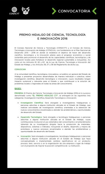 PREMIO HIDALGO DE CIENCIA TECNOLOGÍA E INNOVACIÓN 2016