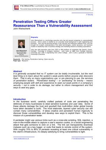 Penetration Testing Offers Greater Reassurance Than a Vulnerability Assessment