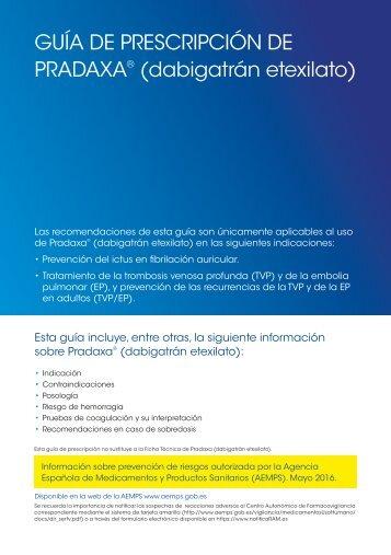 GUÍA DE PRESCRIPCIÓN DE PRADAXA (dabigatrán etexilato)