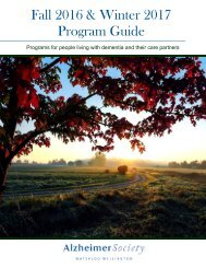 Alzheimer Society Waterloo Wellington Program Guide Fall 2016 - Winter 2017