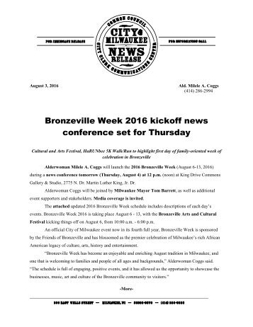 Bronzeville Week 2016 kickoff news conference set for Thursday