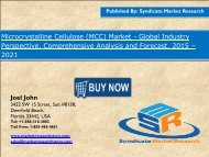 New report to study the Global Microcrystalline Cellulose (MCC) Market share, size 2021