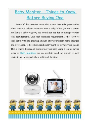 Baby Monitor - Things to Know Before Buying One