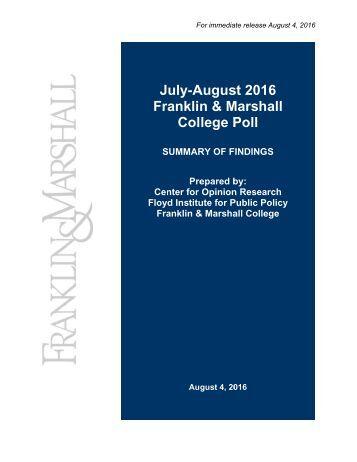 J Fr uly-A ranklin Col Augus n & M lege P st 201 Marsh Poll 6 all