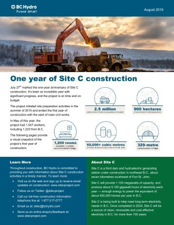 One year of Site C construction