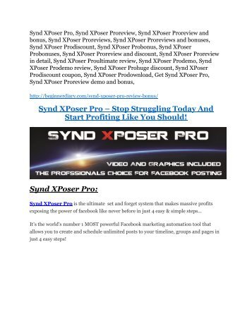 Synd XPoser Pro review & SECRETS bonus of Synd XPoser Pro