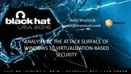 ANALYSIS OF THE ATTACK SURFACE OF WINDOWS 10 VIRTUALIZATION-BASED SECURITY