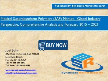 Global Medical Superabsorbent Polymers (SAP) Market Segments, share, Trends and value 2021