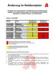 Änderung im Notdienstplan - Rosen-Apotheke und Karls-Apotheke