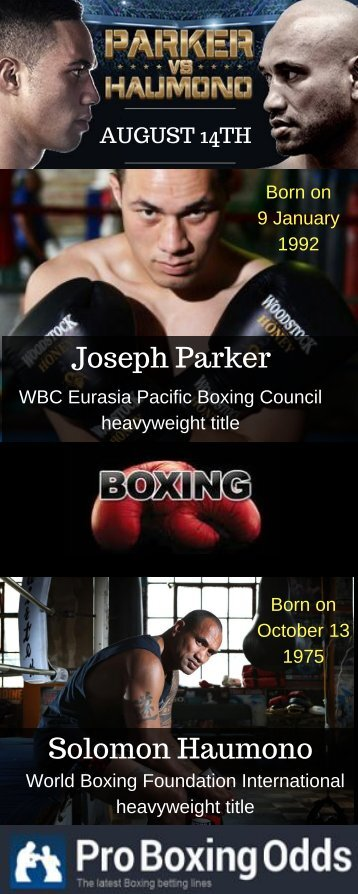 Fight on August 14th Between Joseph Parker and Solomon Haumono
