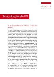 Presse - Juli bis September 2009 - Rolf Disch