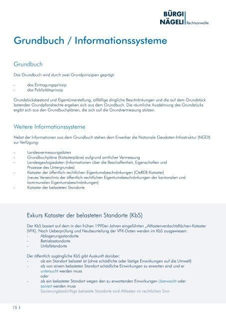 Schweizerische Immobilien - Bürgi Nägeli Rechtsanwälte