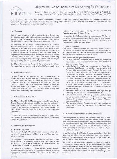 Allgemeine bedingungen zum mietvertrag f r wohnr ume h e v for Farbbeispiele fur wohnraume
